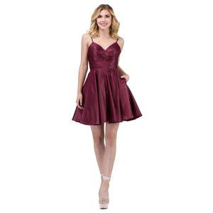 NWT Dancing Queen WINE Short Prom Dress Large
